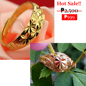 Classic Ethiopian GOLD COLOR  Couple Promise Rings (1 pair Adjustable)