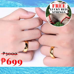 Classic GOLD COLOR  Couple Promise Rings (1 pair Adjustable) FREE 2 pcs Lucky LOVE Red String