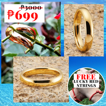Load image into Gallery viewer, Classic GOLD COLOR  Couple Promise Rings (1 pair Adjustable) FREE 2 pcs Lucky LOVE Red String