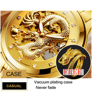 Automatic Skeleton Mechanical Golden Dragon Watch with Free Golden Dragon Ring