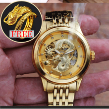 Load image into Gallery viewer, Automatic Skeleton Mechanical Golden Dragon Watch with Free Golden Dragon Ring