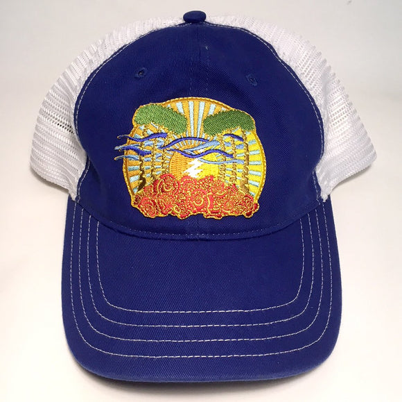 Sunshine Daydream vintage wash trucker hat (royal/white)