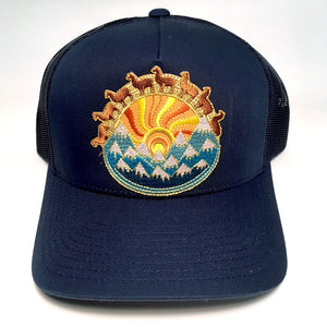 Llama curved bill hat (navy)