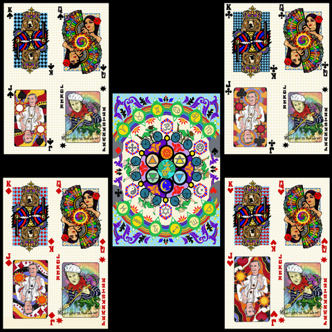 "Bicycle Day 2021 blotter design + ""Suits"" from Bicycle Day Deck of Playing Cards"