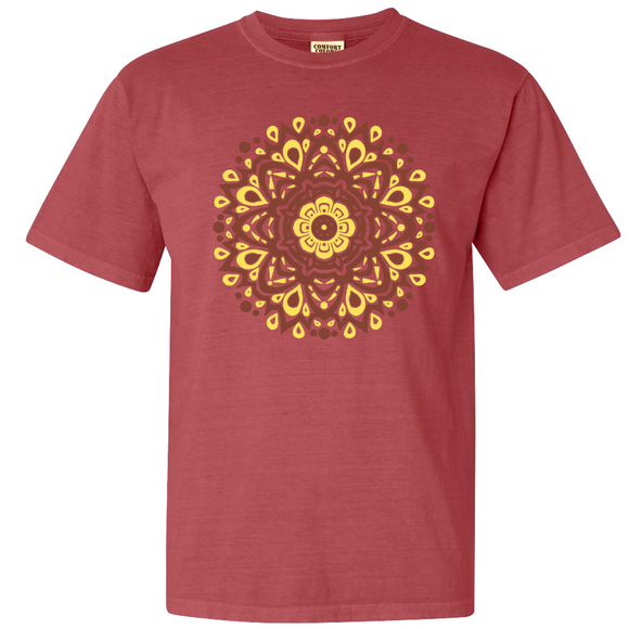 Rust red garment dyed mandala tee
