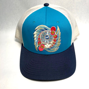 Spin Your Face trucker hat (navy/teal)
