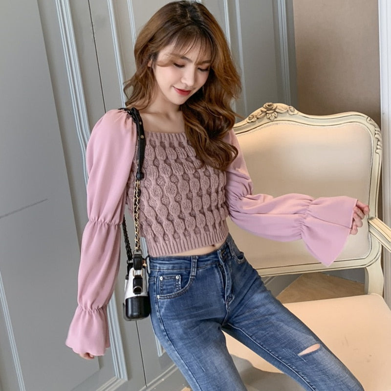 Long Sleeved Knitted Chiffon Crop Top