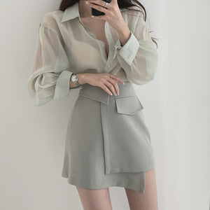Two Piece Translucent Blouse & Skirt