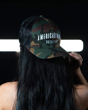 American Made Nutrition AMN Hat Default Snapback Trucker Camo