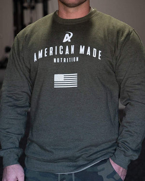 American Made Nutrition Apparel Crewneck Pullover // Army Green