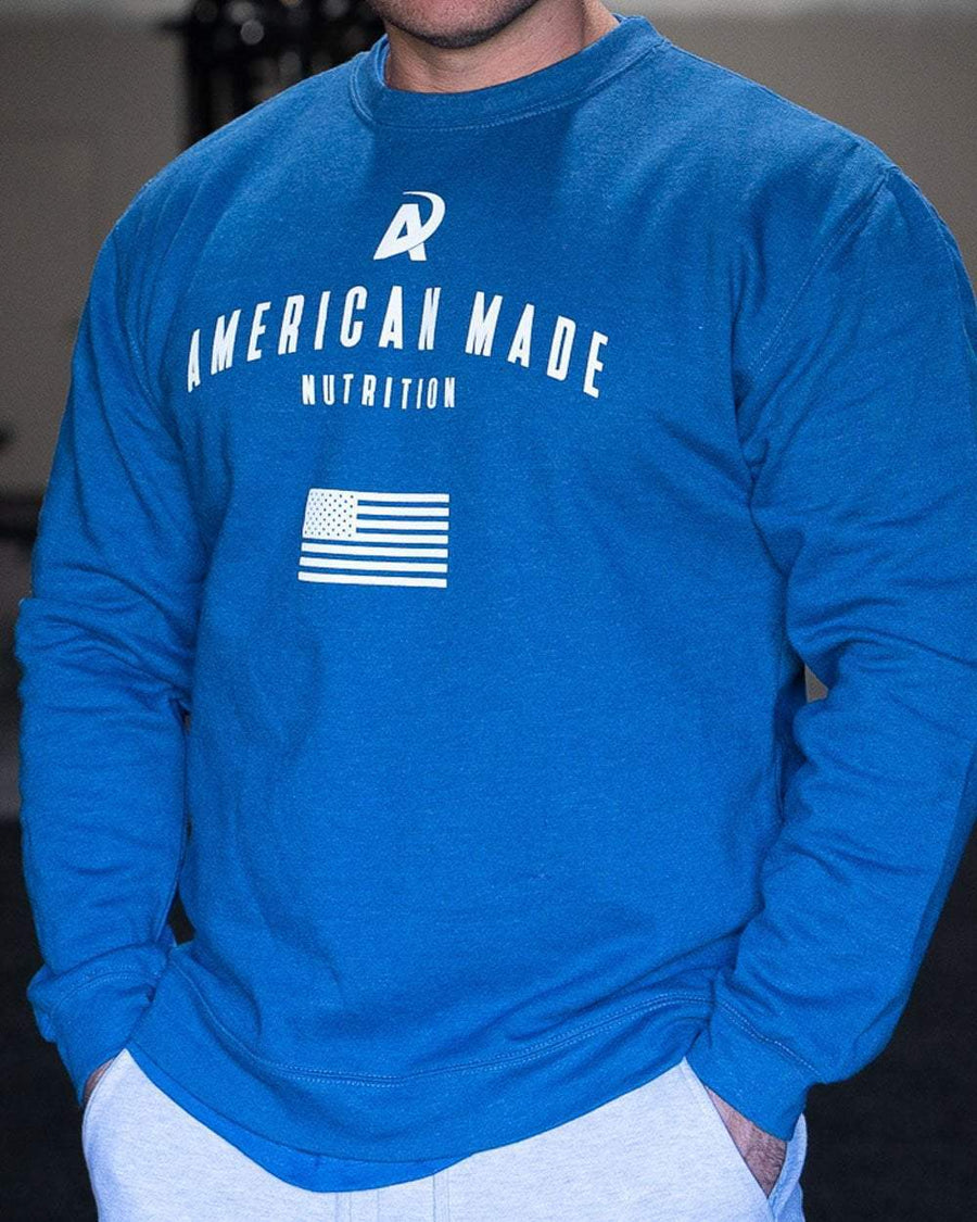 American Made Nutrition Apparel Crewneck Pullover // Royal Blue