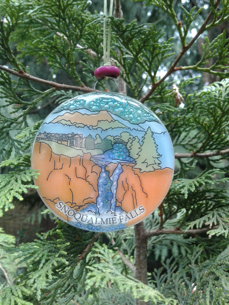 Snoqualmie Falls Glass Ornament