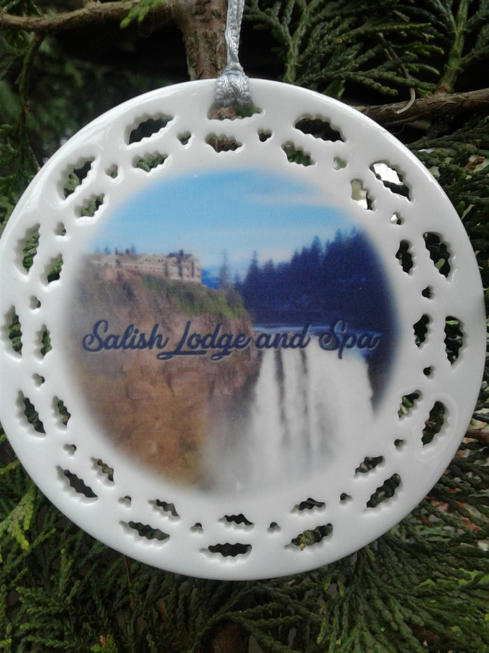 Salish Lodge Porcelain Ornament