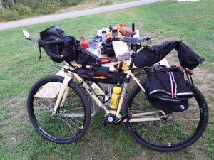 Bikepacking right with a well-equipped Klatch Pinion -Photo by Joe Fodor
