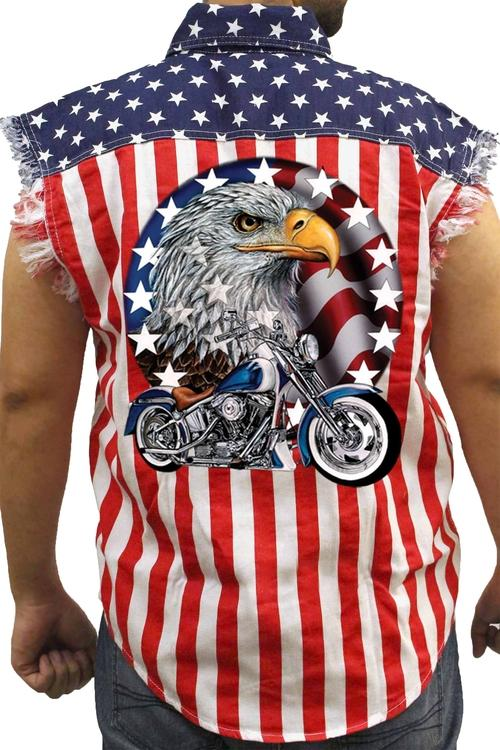Men's USA Flag Sleeveless Denim Shirt Red White & Blue - BrapWrap