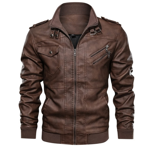 Stylish PU Leather Motorcycle Jacket