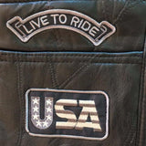 Letter Embroidery Motorcycle Leather Vest - BrapWrap