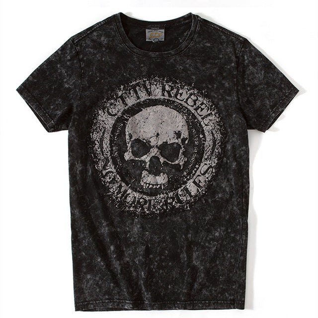 Short Sleeve Skull Print Men T-shirt