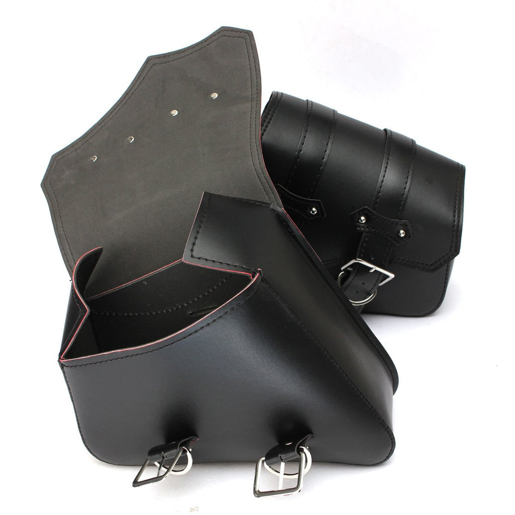 1 Pair Black Motorcycle Saddlebags Throw Under Seat Side Tools Bag