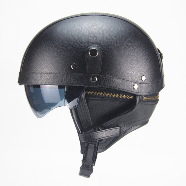 Vintage Motorcycle Half Face Leather Helmet