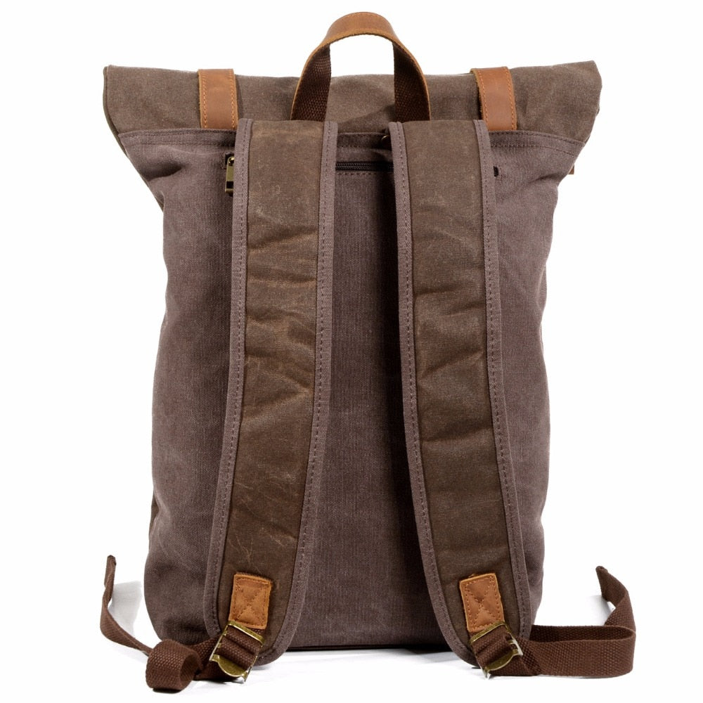 Vintage Canvas Wax Leather Travel Backpack