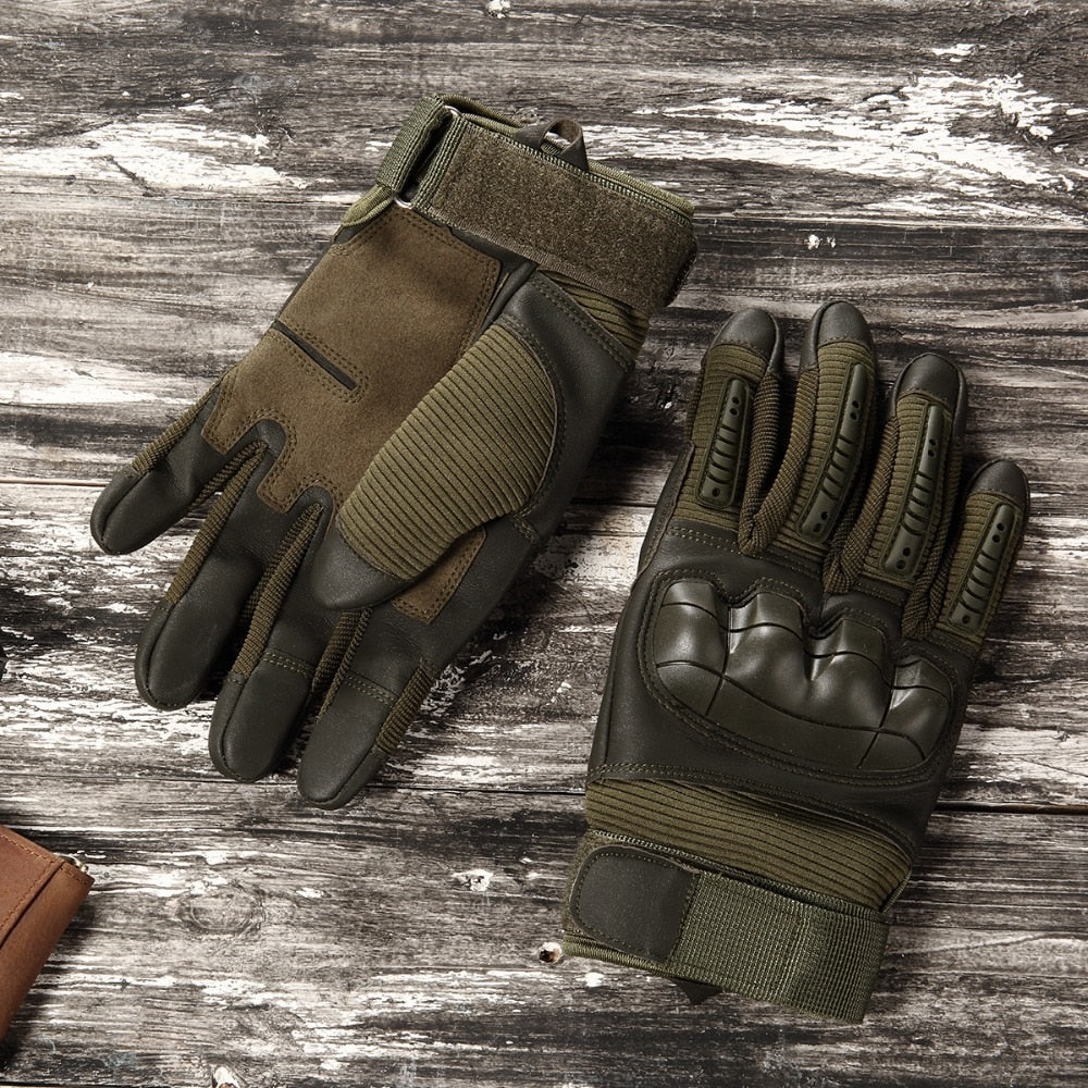 Touch Screen Tactical Rubber Hard Knuckle Full Finger Gloves