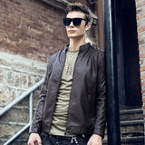 Slim Fit Fashion Stand Collar Zipper Leather Jacket