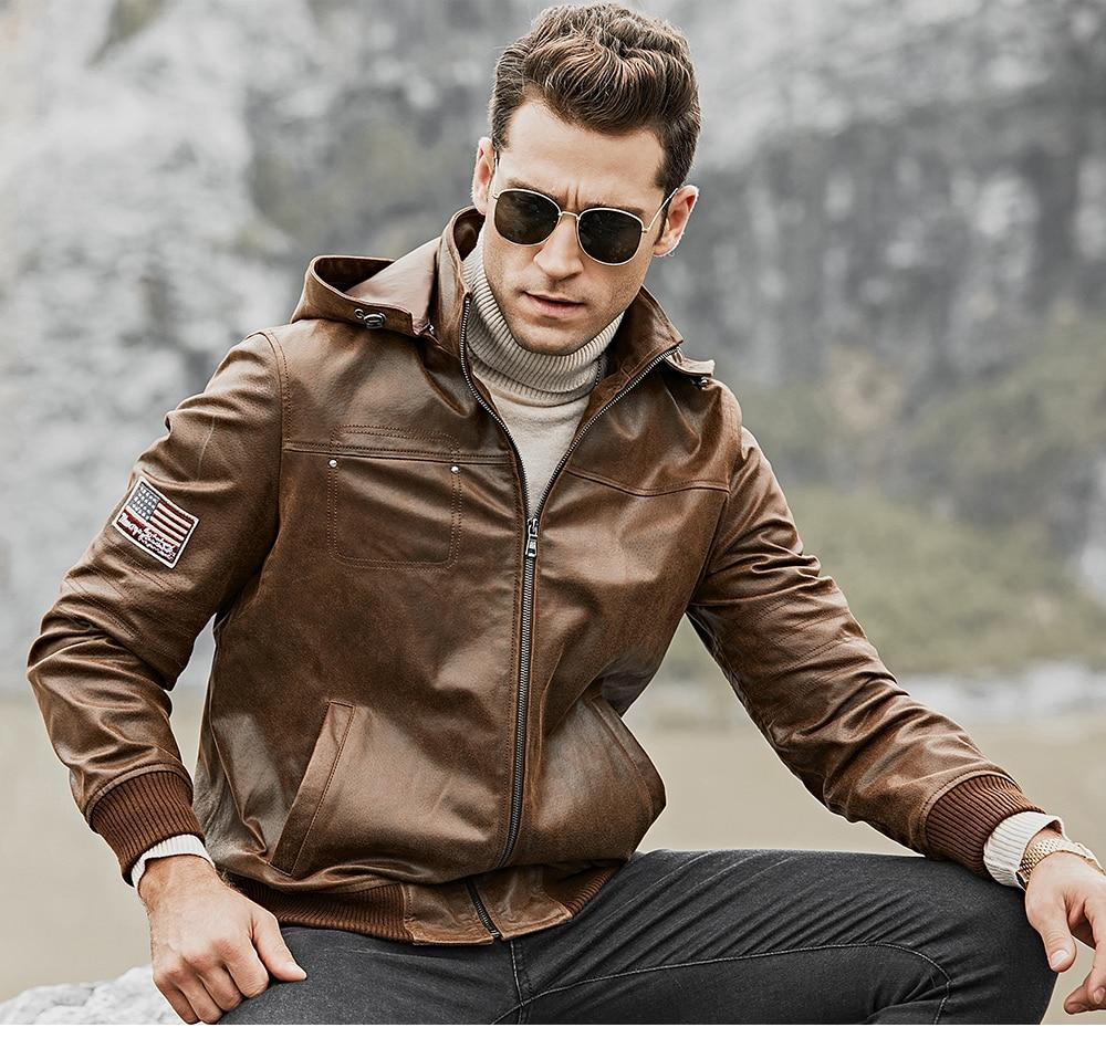 Genuine Leather Removable Hood Jacket - BrapWrap