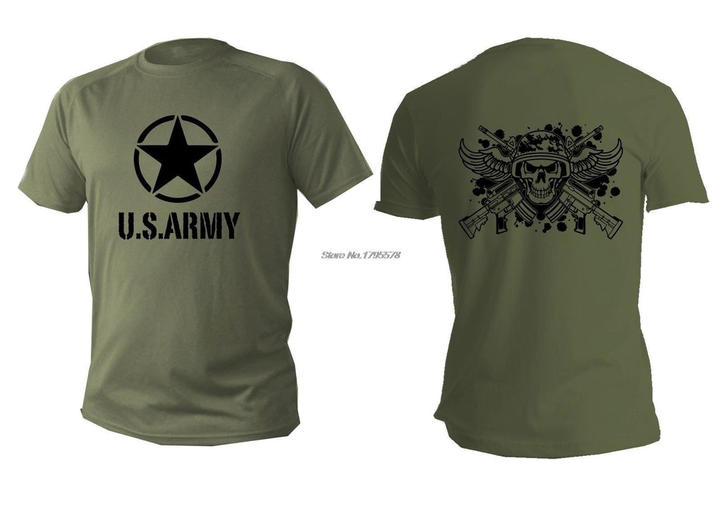 Men T-shirt Green Olive Military USA Army Soldier T Shirt Male Casual Cotton - BrapWrap