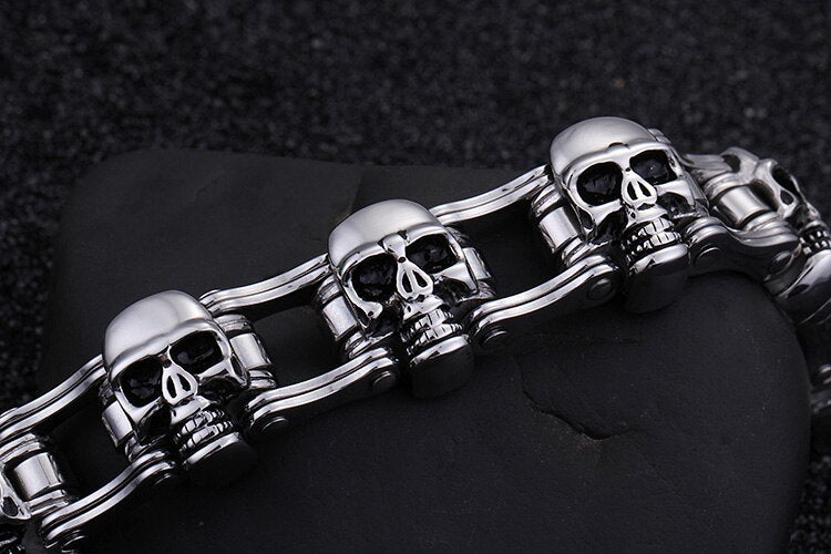 Steel Link Chain Skull Head Bracelet