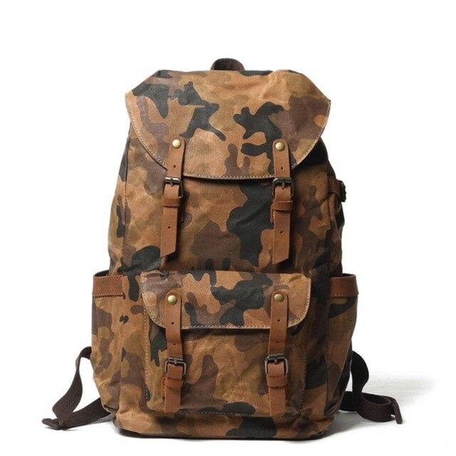 Camouflage Military Retro Canvas Leather Backpacks - BrapWrap
