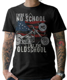 Black Oldschool Chopper Motorcycle T-Shirts - BrapWrap