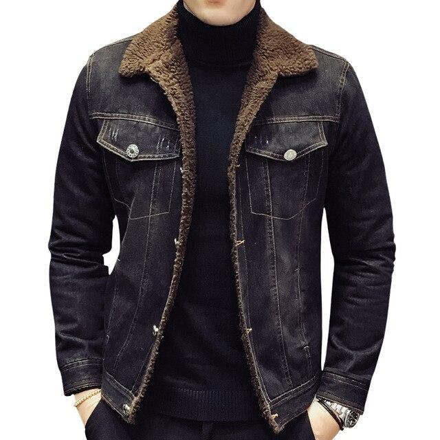Black Denim Thick Velvet Jacket - BrapWrap
