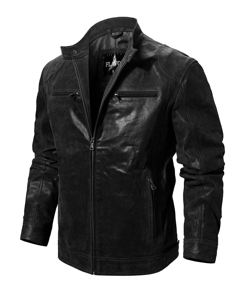 Genuine Leather Motorcycle Rider Jacket - BrapWrap