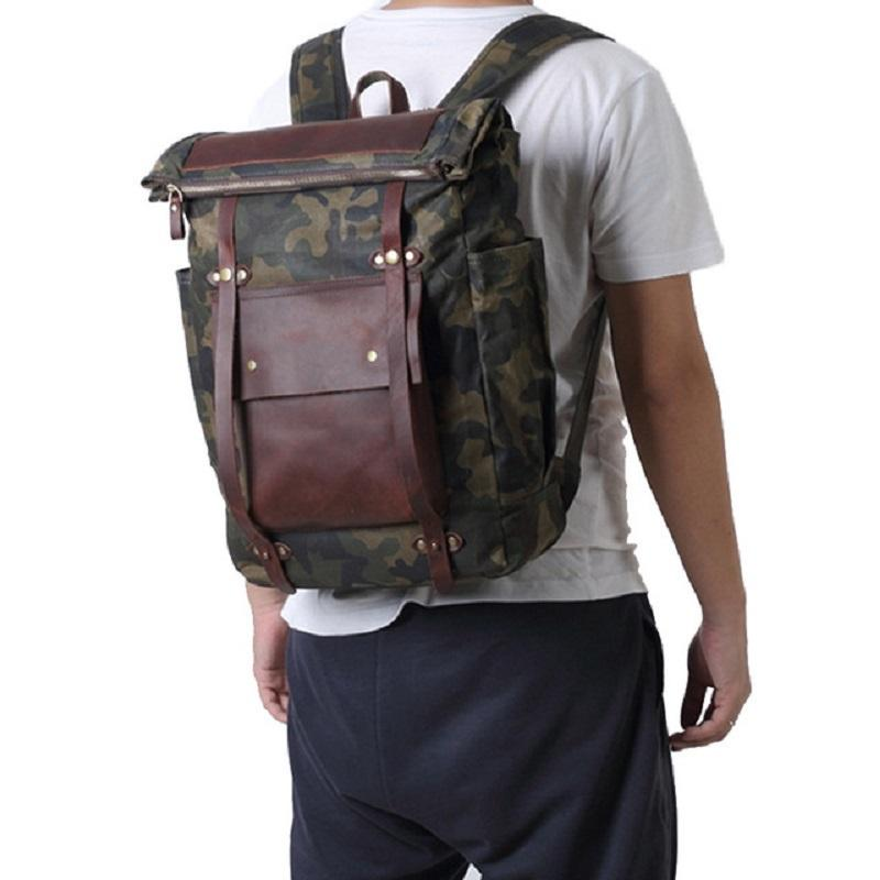 Canvas Wax Leather Waterproof Camouflage Bag - BrapWrap