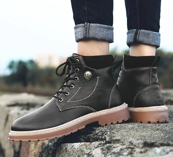 Comfortable Winter Warm Ankle Motorcycle Leather Boots - BrapWrap