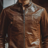 Brown Genuine Leather Motorcycle Bomber Jacket - BrapWrap