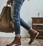 Comfy Leather Lace-up Basic Boots - BrapWrap