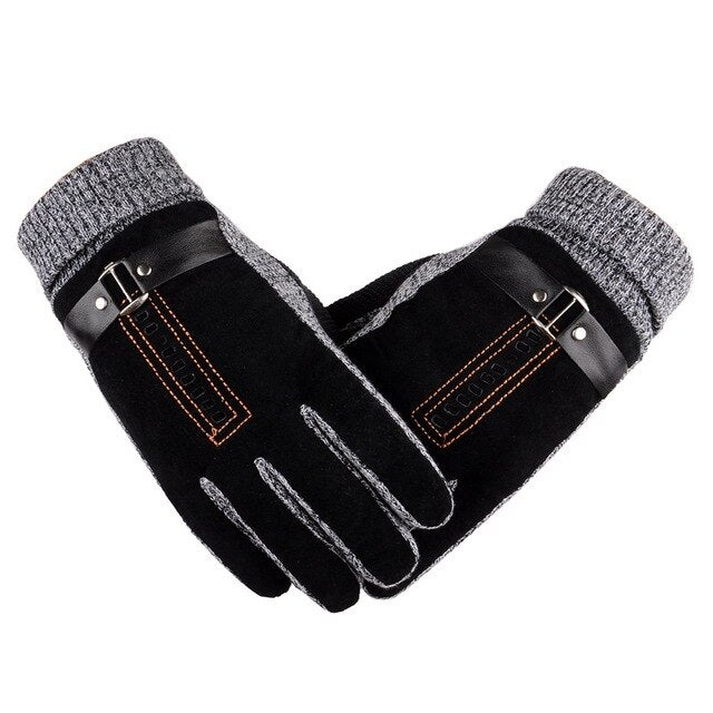 Warm Genuine Leather Motorcycle Thick Winter Gloves