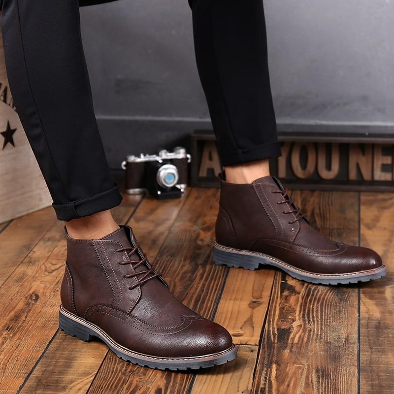Brogue Ankle Casual Leather Lace Up Shoes - BrapWrap