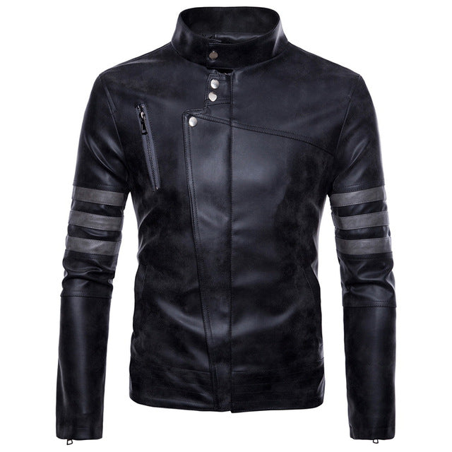 Vintage Style Motorcycle Rider Leather Stand Collar Jacket