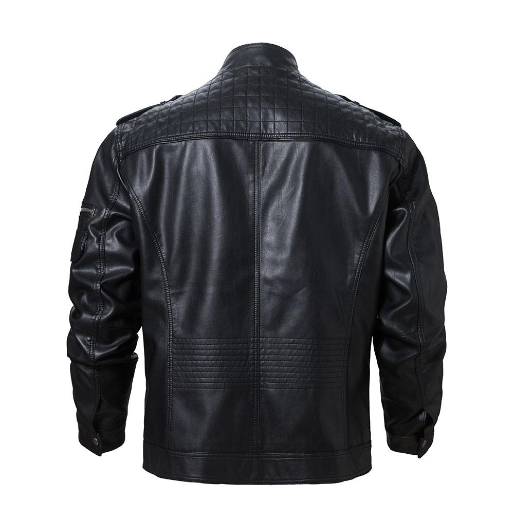 Black PU Leather Motorcycle Rider Jacket - BrapWrap