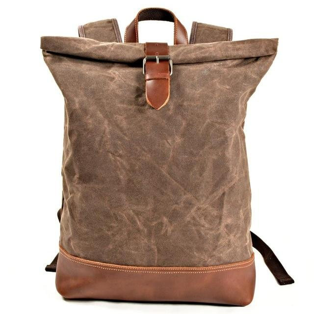 Canvas Crazy Horse Leather Backpack - BrapWrap