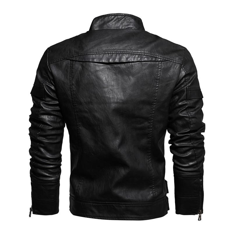 Casual Fashion Stand Collar Leather Jacket - BrapWrap