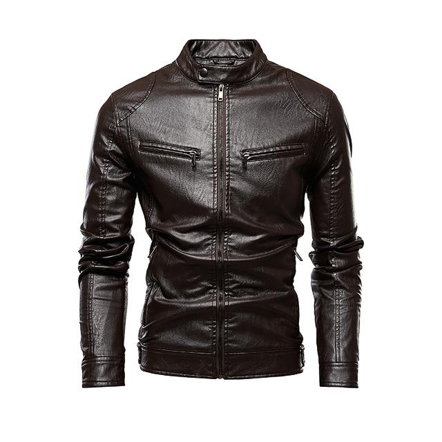 Causal Vintage Leather Stand Collar Jacket - BrapWrap