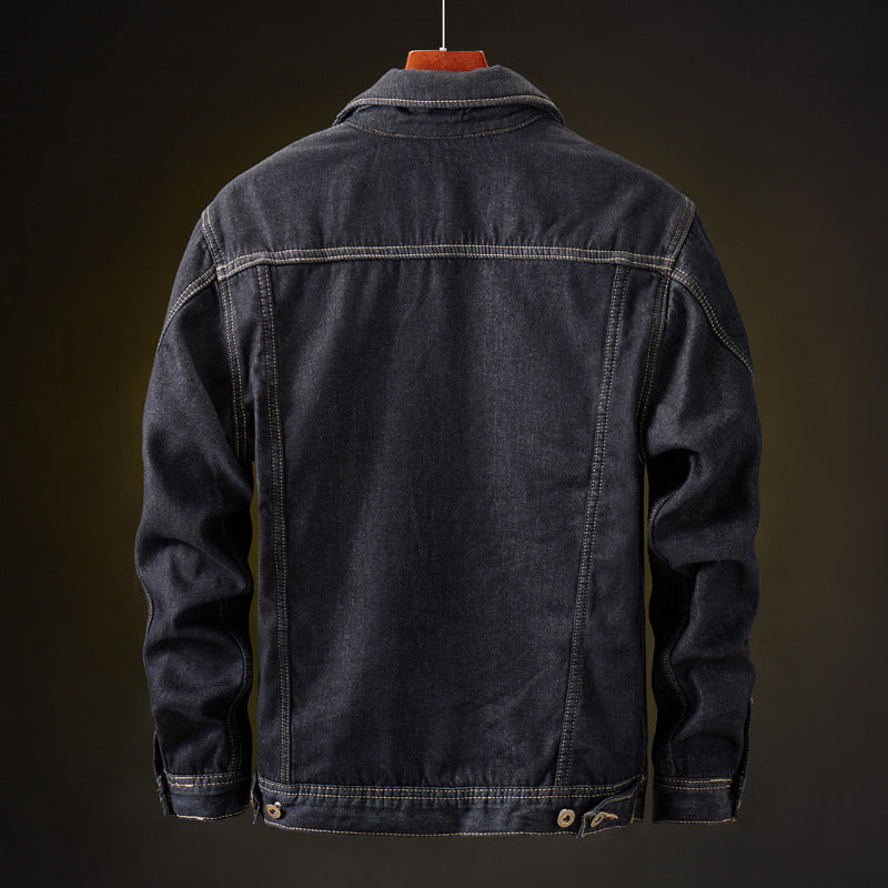Warm Fleece Dark Blue Denim Jacket