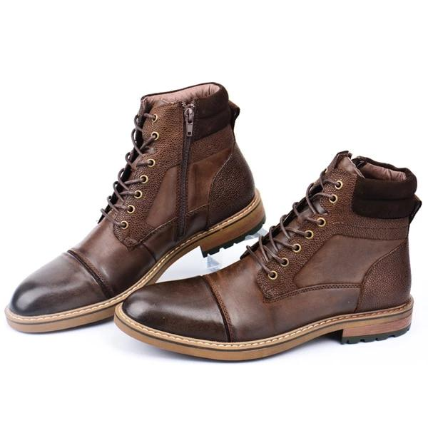 Genuine Leather Handmade Casual Lace-up Boots - BrapWrap