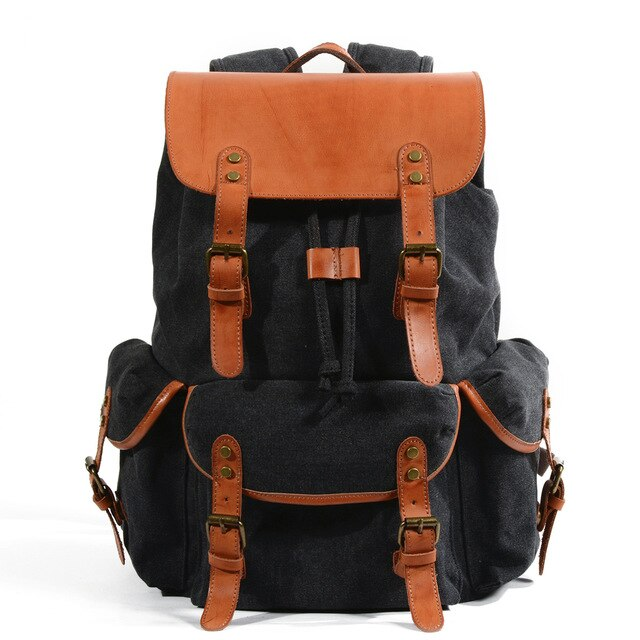 Waterproof Wax Canvas Leather Retro Backpacks
