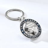 Rotatable Cube Washington Zinc Alloy Key Chain