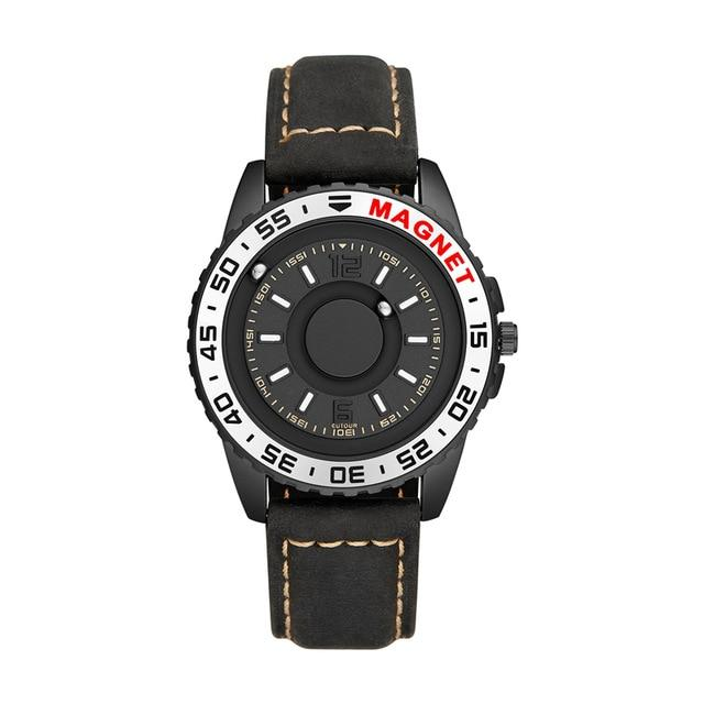 Magnetic Technology Pointer Blind Leather Strap Watch - BrapWrap